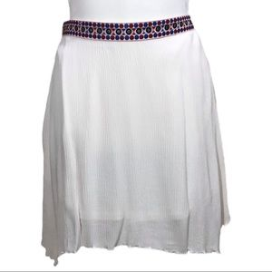 Winter White Skirt with Geometric Waist